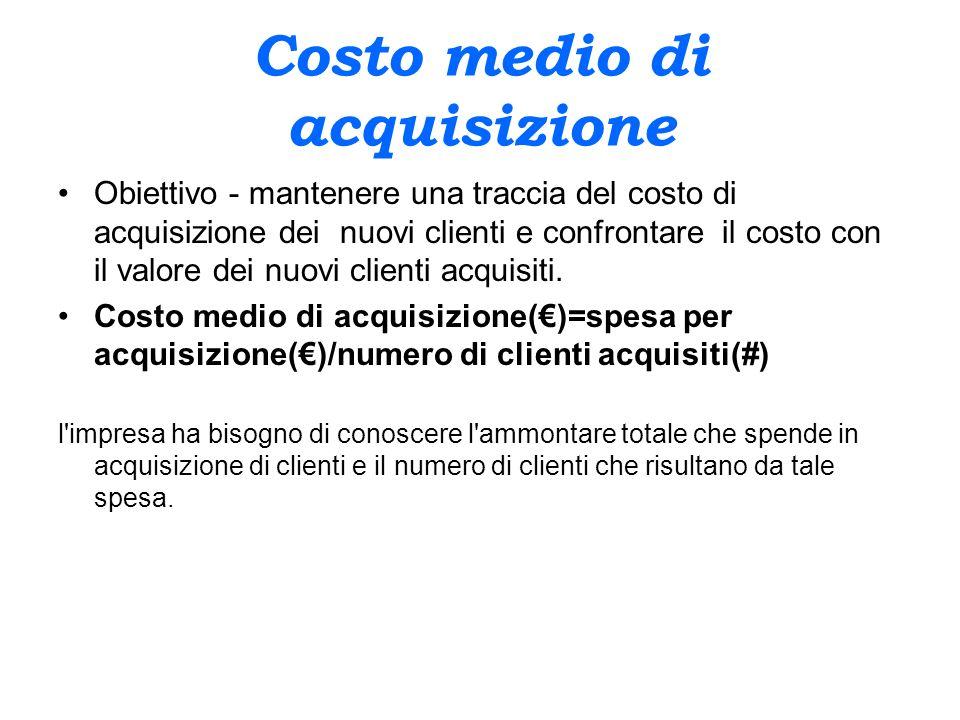 Costo medio di acquisizione Obiettivo - mantenere una traccia del costo di acquisizione dei nuovi clienti e confrontare il costo con il valore dei nuo
