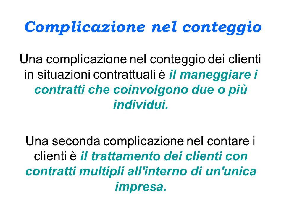 Complicazione nel conteggio Una complicazione nel conteggio dei clienti in situazioni contrattuali è il maneggiare i contratti che coinvolgono due o p