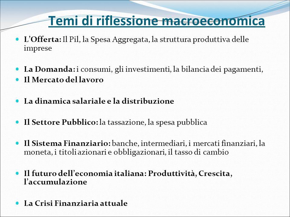 Temi di riflessione macroeconomica LOfferta: Il Pil, la Spesa Aggregata, la struttura produttiva delle imprese La Domanda: i consumi, gli investimenti, la bilancia dei pagamenti, Il Mercato del lavoro La dinamica salariale e la distribuzione Il Settore Pubblico: la tassazione, la spesa pubblica Il Sistema Finanziario: banche, intermediari, i mercati finanziari, la moneta, i titoli azionari e obbligazionari, il tasso di cambio Il futuro delleconomia italiana: Produttività, Crescita, laccumulazione La Crisi Finanziaria attuale