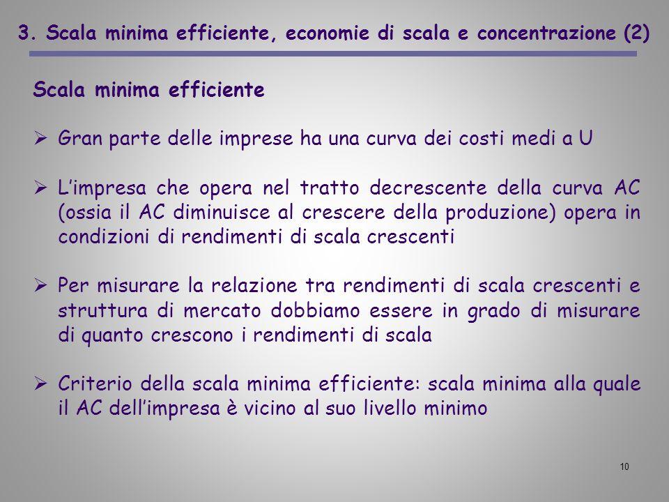 10 3. Scala minima efficiente, economie di scala e concentrazione (2) Scala minima efficiente Gran parte delle imprese ha una curva dei costi medi a U