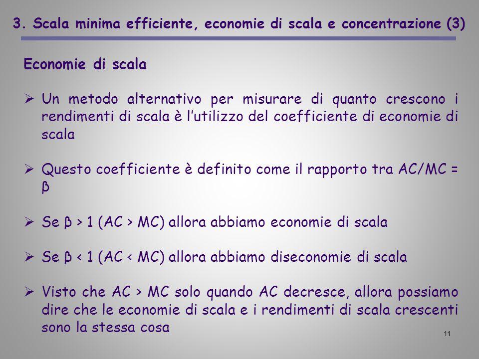 11 3. Scala minima efficiente, economie di scala e concentrazione (3) Economie di scala Un metodo alternativo per misurare di quanto crescono i rendim