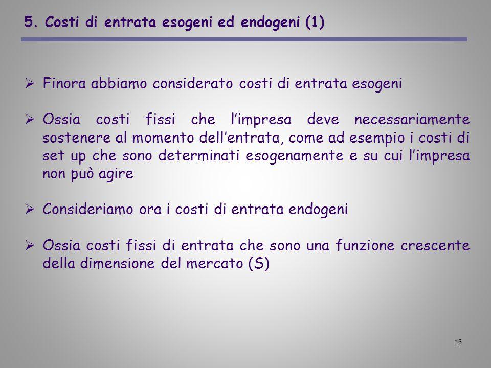 16 5. Costi di entrata esogeni ed endogeni (1) Finora abbiamo considerato costi di entrata esogeni Ossia costi fissi che limpresa deve necessariamente