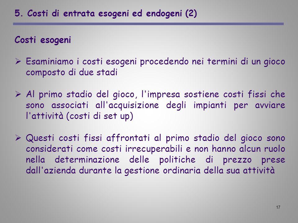 17 5. Costi di entrata esogeni ed endogeni (2) Costi esogeni Esaminiamo i costi esogeni procedendo nei termini di un gioco composto di due stadi Al pr