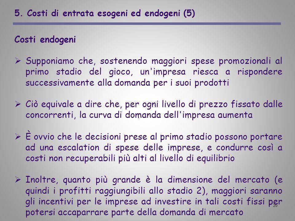 20 5. Costi di entrata esogeni ed endogeni (5) Costi endogeni Supponiamo che, sostenendo maggiori spese promozionali al primo stadio del gioco, un'imp
