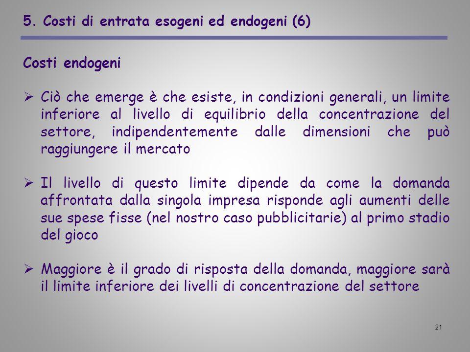 21 5. Costi di entrata esogeni ed endogeni (6) Costi endogeni Ciò che emerge è che esiste, in condizioni generali, un limite inferiore al livello di e