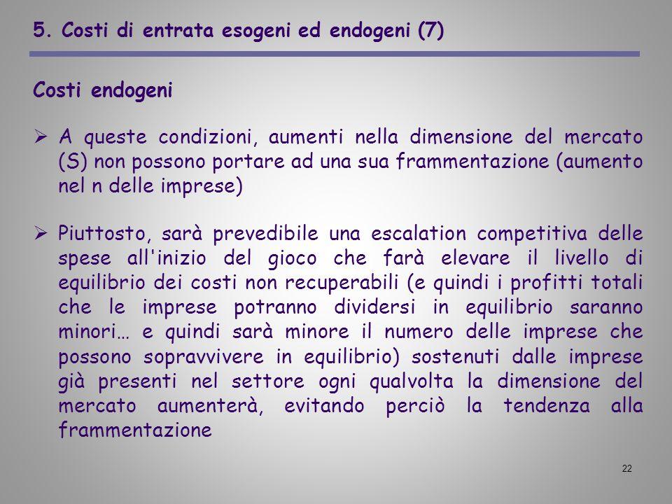 22 5. Costi di entrata esogeni ed endogeni (7) Costi endogeni A queste condizioni, aumenti nella dimensione del mercato (S) non possono portare ad una