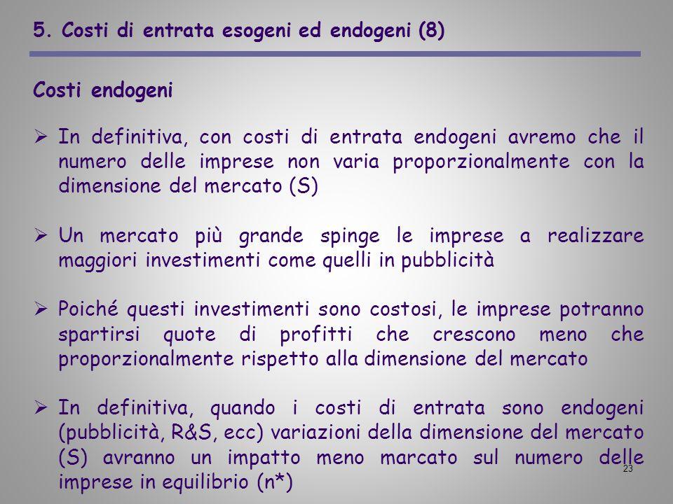 23 5. Costi di entrata esogeni ed endogeni (8) Costi endogeni In definitiva, con costi di entrata endogeni avremo che il numero delle imprese non vari