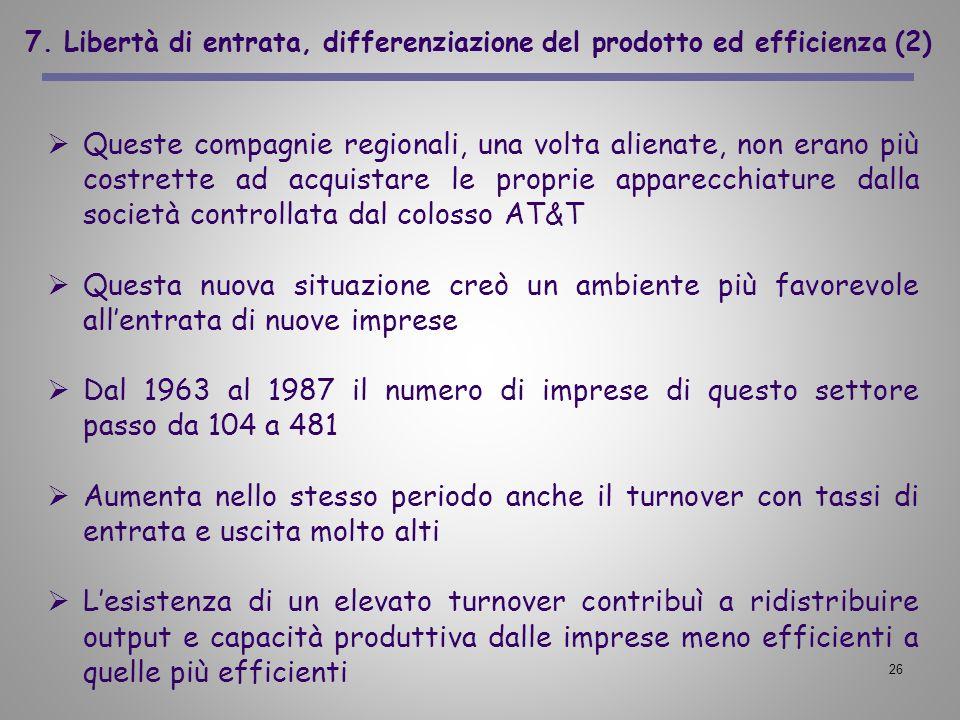 26 7. Libertà di entrata, differenziazione del prodotto ed efficienza (2) Queste compagnie regionali, una volta alienate, non erano più costrette ad a