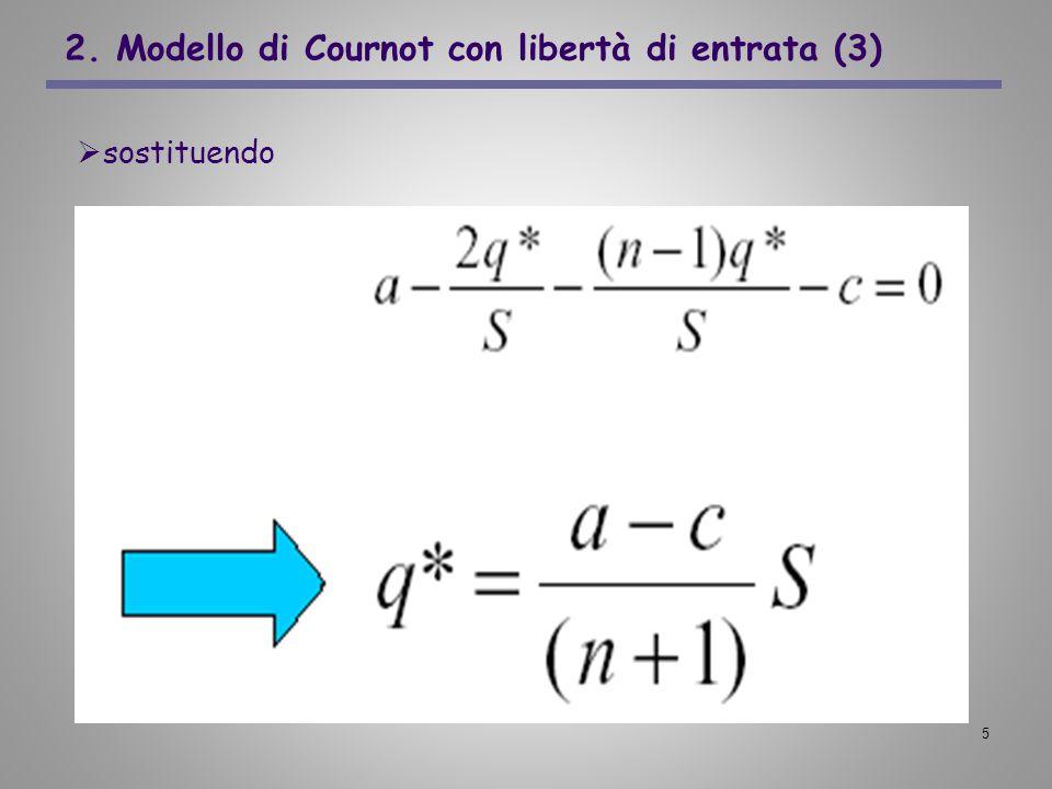 6 2. Modello di Cournot con libertà di entrata (4) Il prezzo di equilibrio non dipende da S