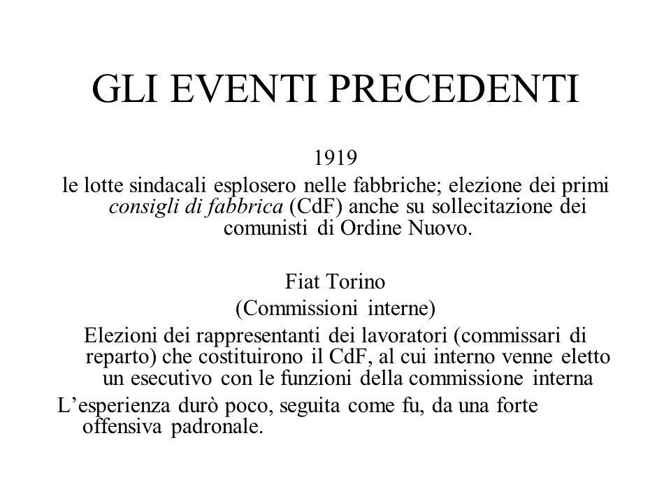 GLI EVENTI PRECEDENTI 1919 le lotte sindacali esplosero nelle fabbriche; elezione dei primi consigli di fabbrica (CdF) anche su sollecitazione dei comunisti di Ordine Nuovo.