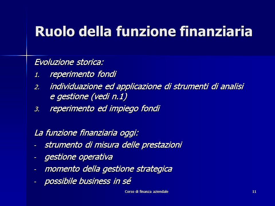 Corso di finanza aziendale11 Ruolo della funzione finanziaria Evoluzione storica: 1. reperimento fondi 2. individuazione ed applicazione di strumenti