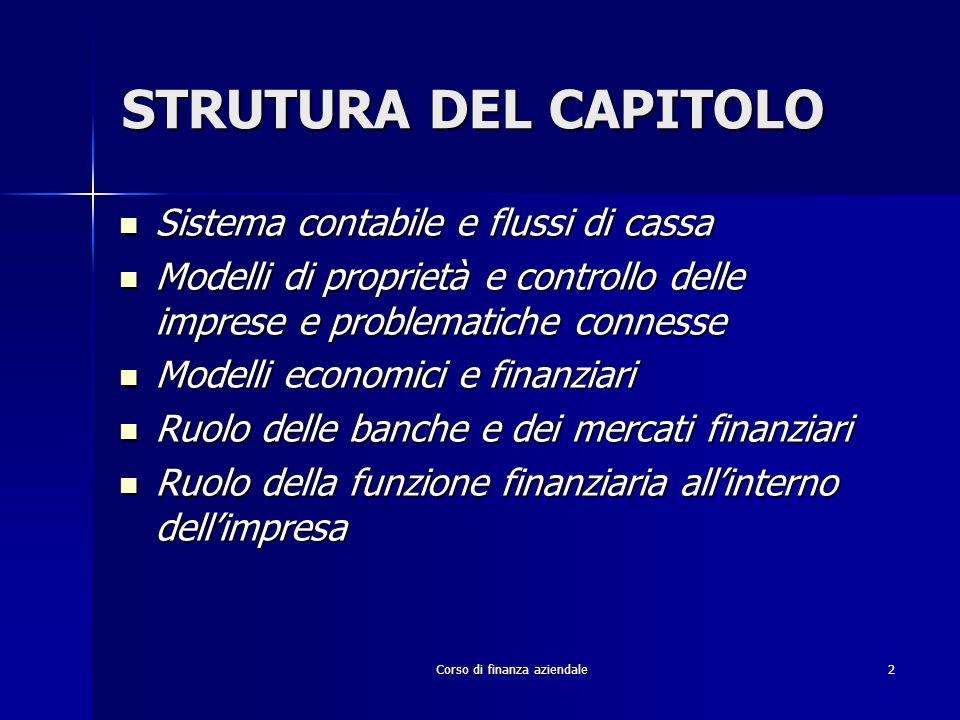 Corso di finanza aziendale2 STRUTURA DEL CAPITOLO Sistema contabile e flussi di cassa Sistema contabile e flussi di cassa Modelli di proprietà e contr