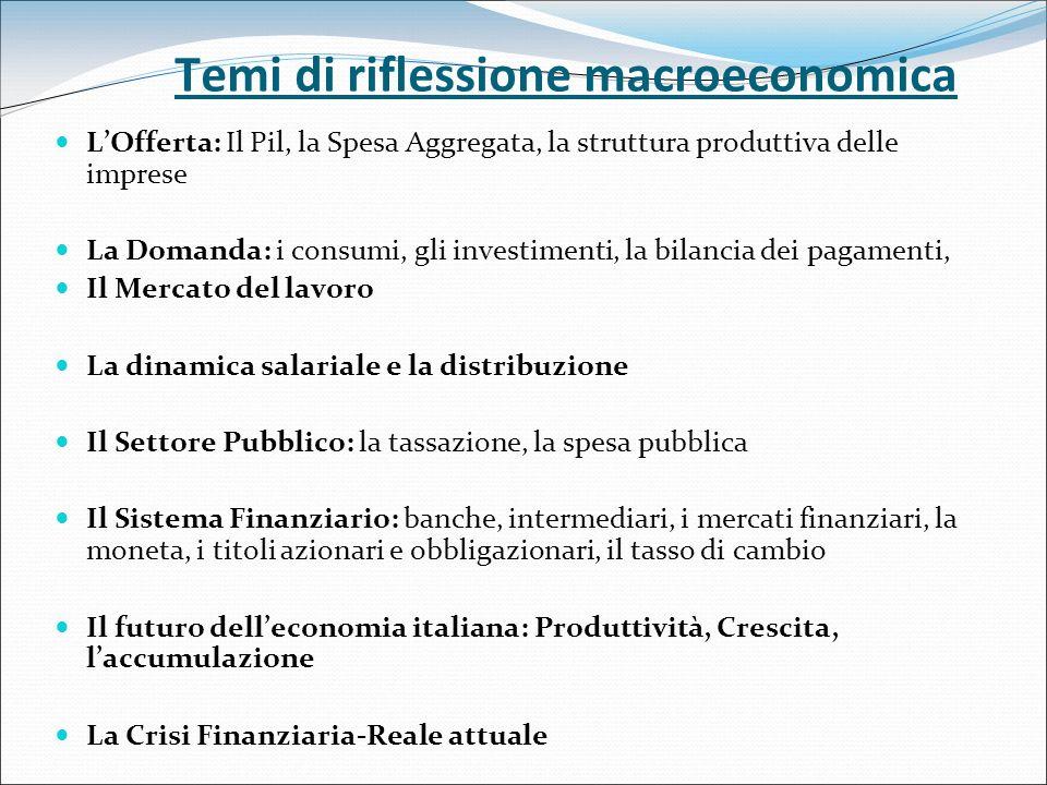 Temi di riflessione macroeconomica LOfferta: Il Pil, la Spesa Aggregata, la struttura produttiva delle imprese La Domanda: i consumi, gli investimenti