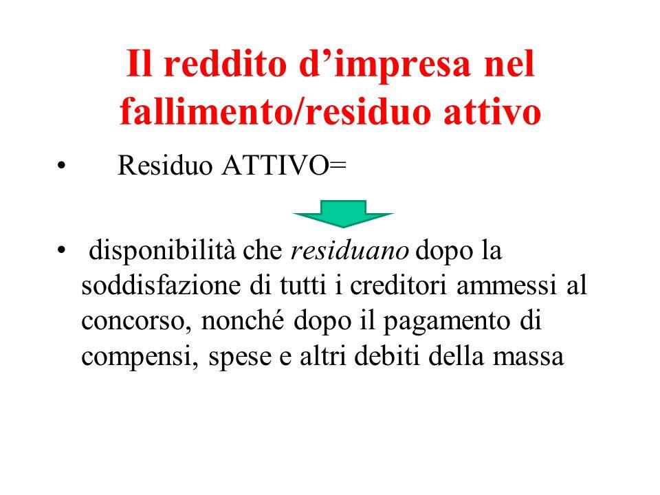 Il reddito dimpresa nel fallimento/residuo attivo Residuo ATTIVO= disponibilità che residuano dopo la soddisfazione di tutti i creditori ammessi al co