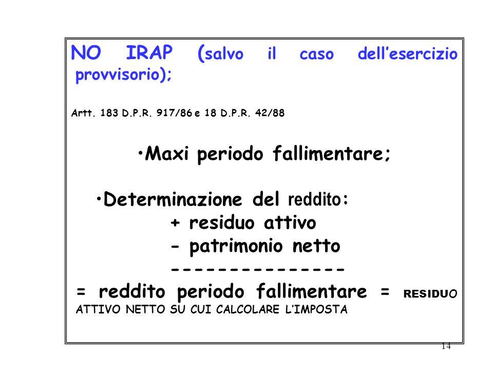 14 NO IRAP ( salvo il caso dellesercizio provvisorio); Artt. 183 D.P.R. 917/86 e 18 D.P.R. 42/88 Maxi periodo fallimentare; Determinazione del reddito