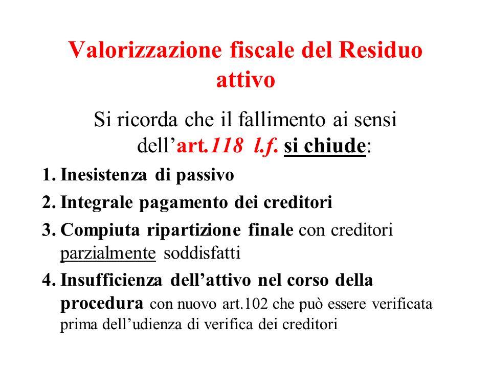 Valorizzazione fiscale del Residuo attivo Si ricorda che il fallimento ai sensi dellart.118 l.f. si chiude: 1.Inesistenza di passivo 2.Integrale pagam