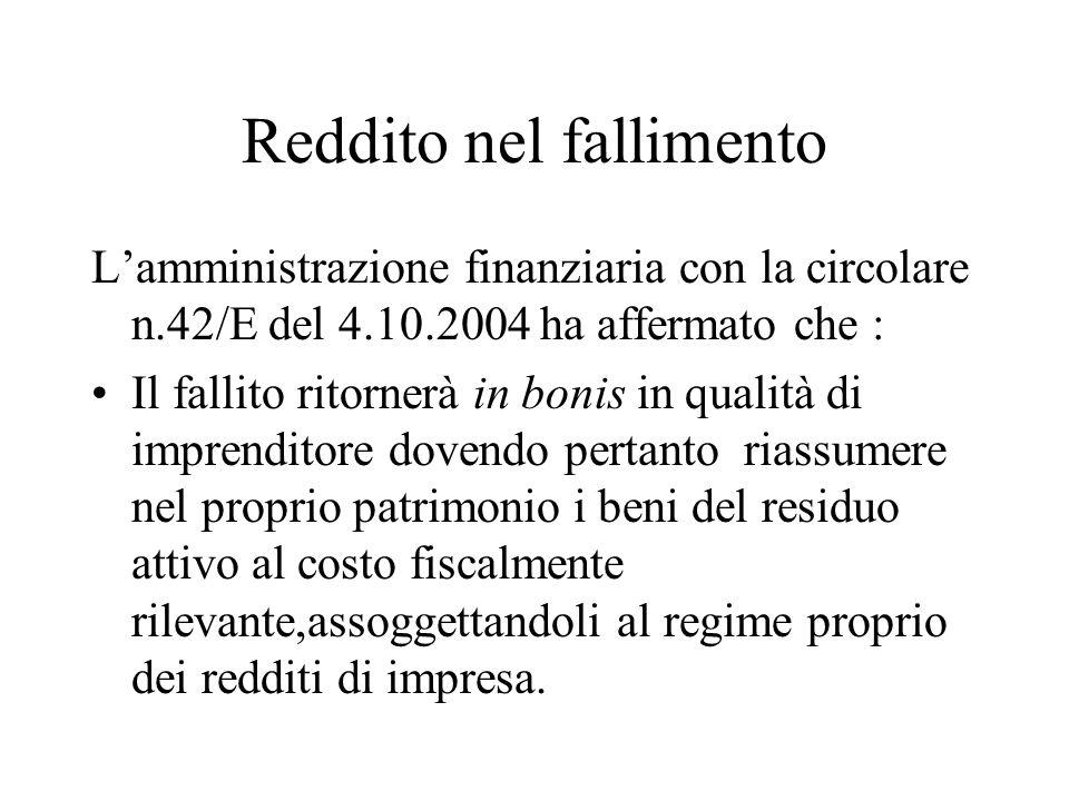 Reddito nel fallimento Lamministrazione finanziaria con la circolare n.42/E del 4.10.2004 ha affermato che : Il fallito ritornerà in bonis in qualità