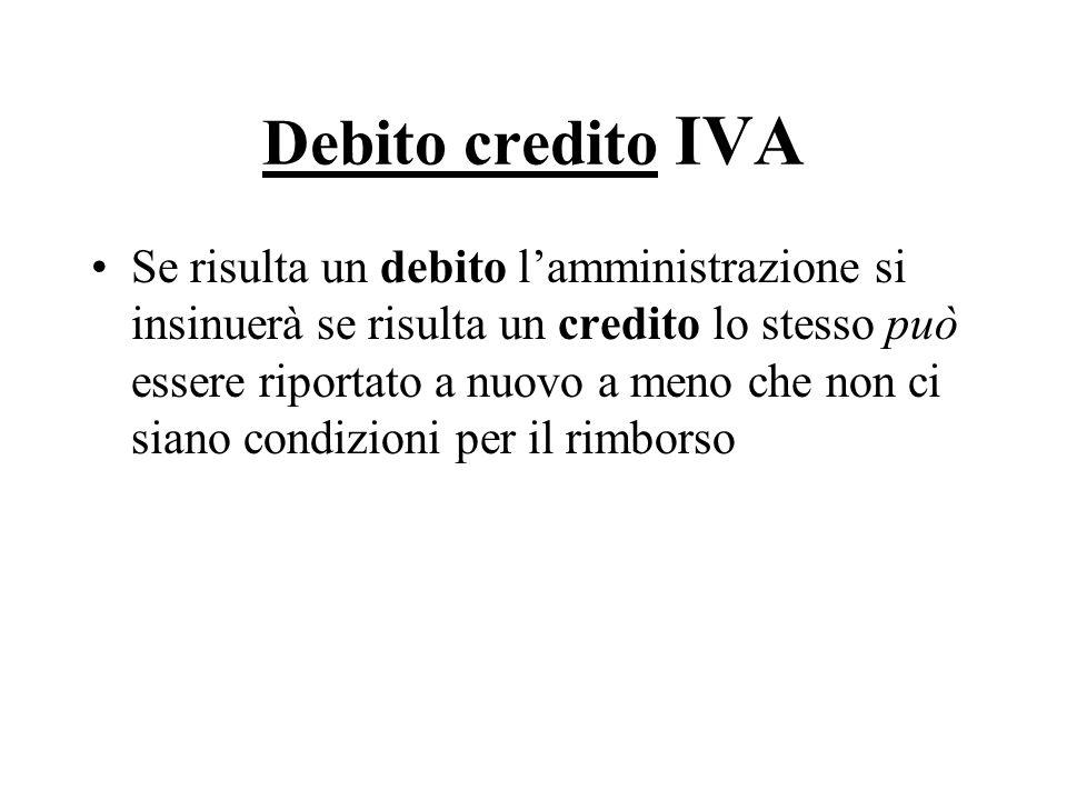 Debito credito IVA Se risulta un debito lamministrazione si insinuerà se risulta un credito lo stesso può essere riportato a nuovo a meno che non ci s