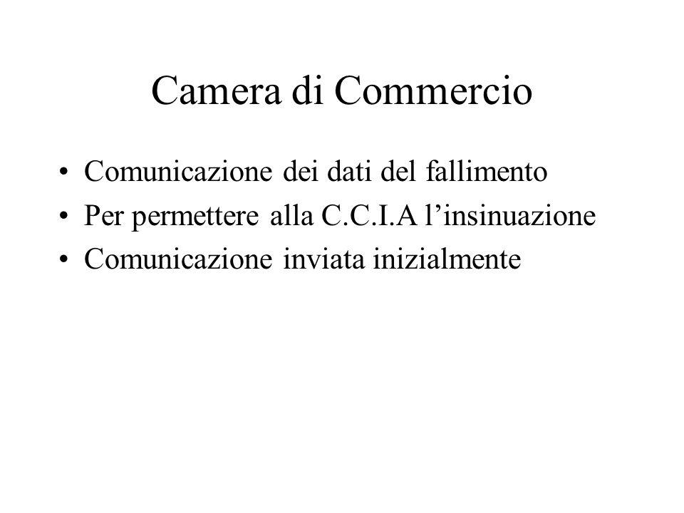 Camera di Commercio Comunicazione dei dati del fallimento Per permettere alla C.C.I.A linsinuazione Comunicazione inviata inizialmente