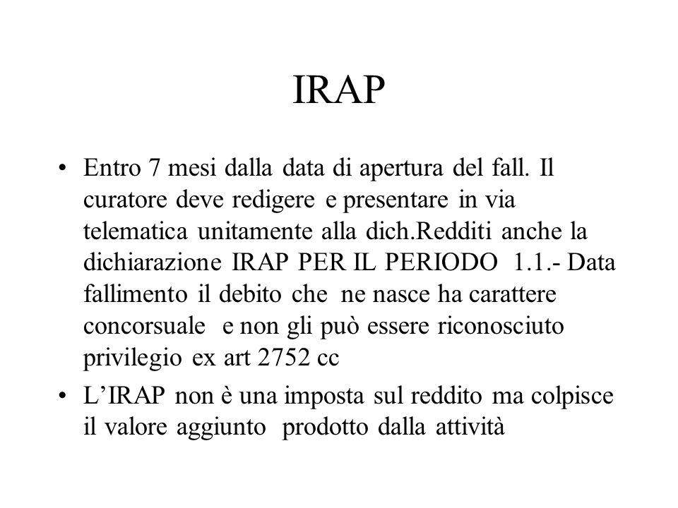 IRAP Entro 7 mesi dalla data di apertura del fall.