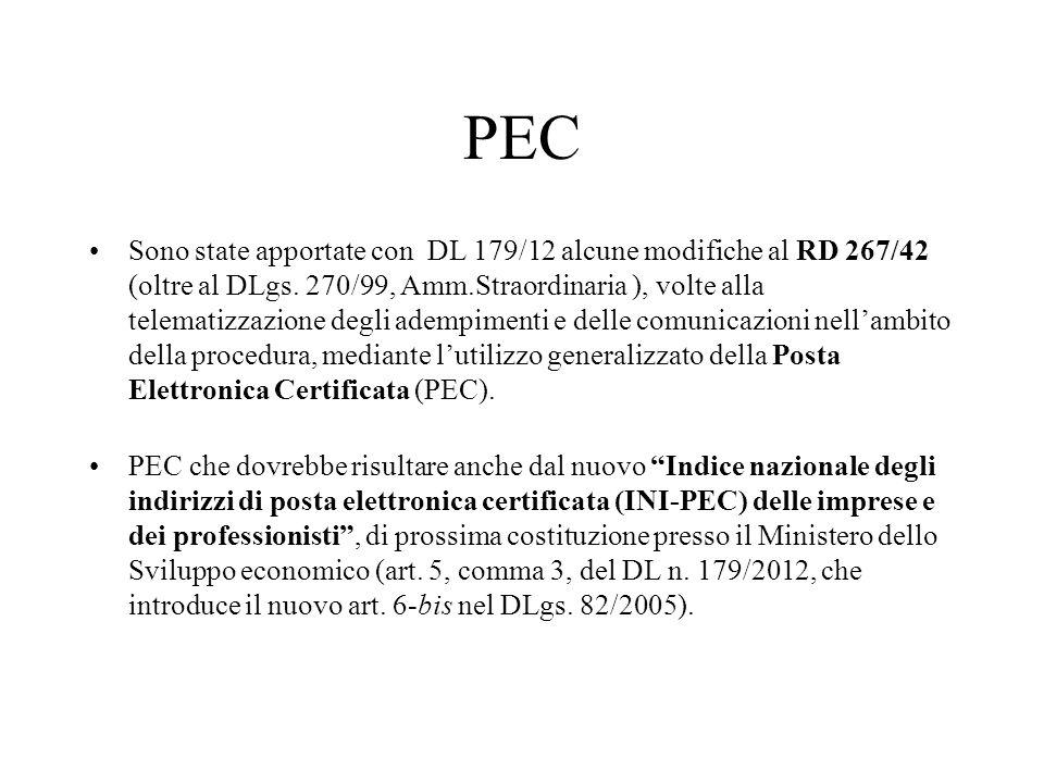 PEC Sono state apportate con DL 179/12 alcune modifiche al RD 267/42 (oltre al DLgs. 270/99, Amm.Straordinaria ), volte alla telematizzazione degli ad