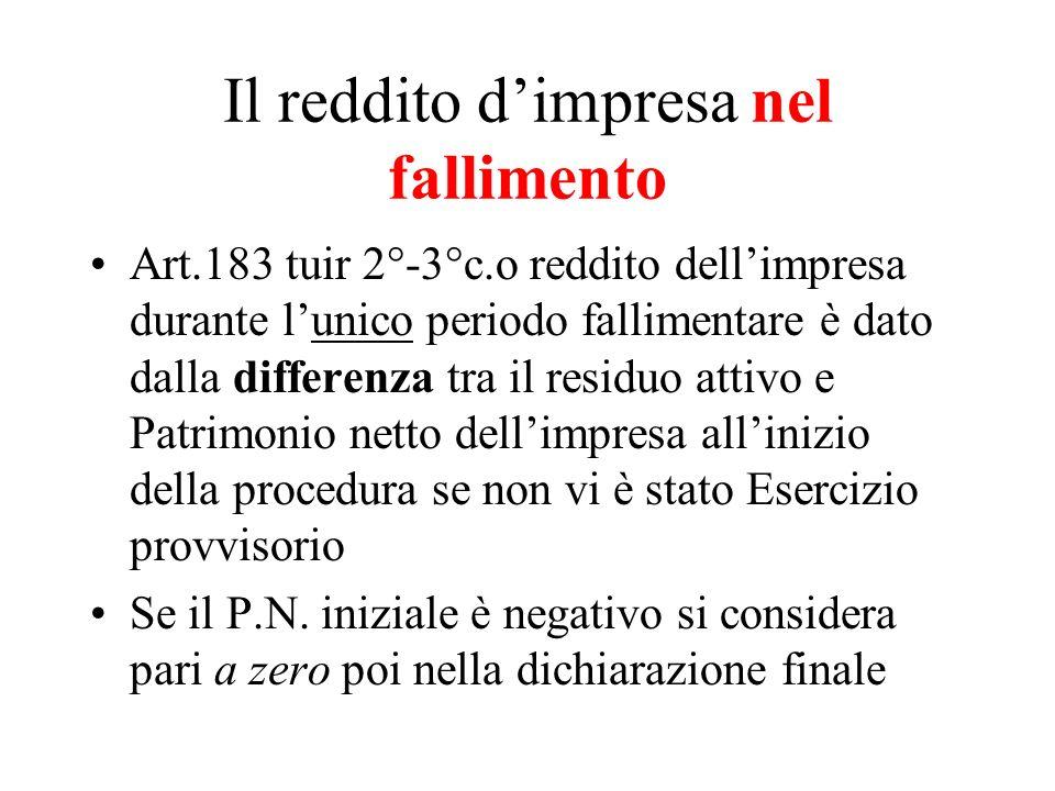 Il reddito dimpresa nel fallimento Art.183 tuir 2°-3°c.o reddito dellimpresa durante lunico periodo fallimentare è dato dalla differenza tra il residu