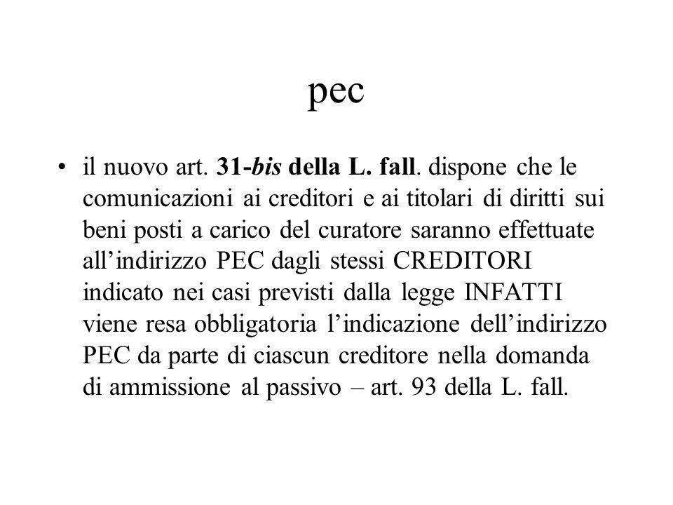 pec il nuovo art. 31-bis della L. fall. dispone che le comunicazioni ai creditori e ai titolari di diritti sui beni posti a carico del curatore sarann