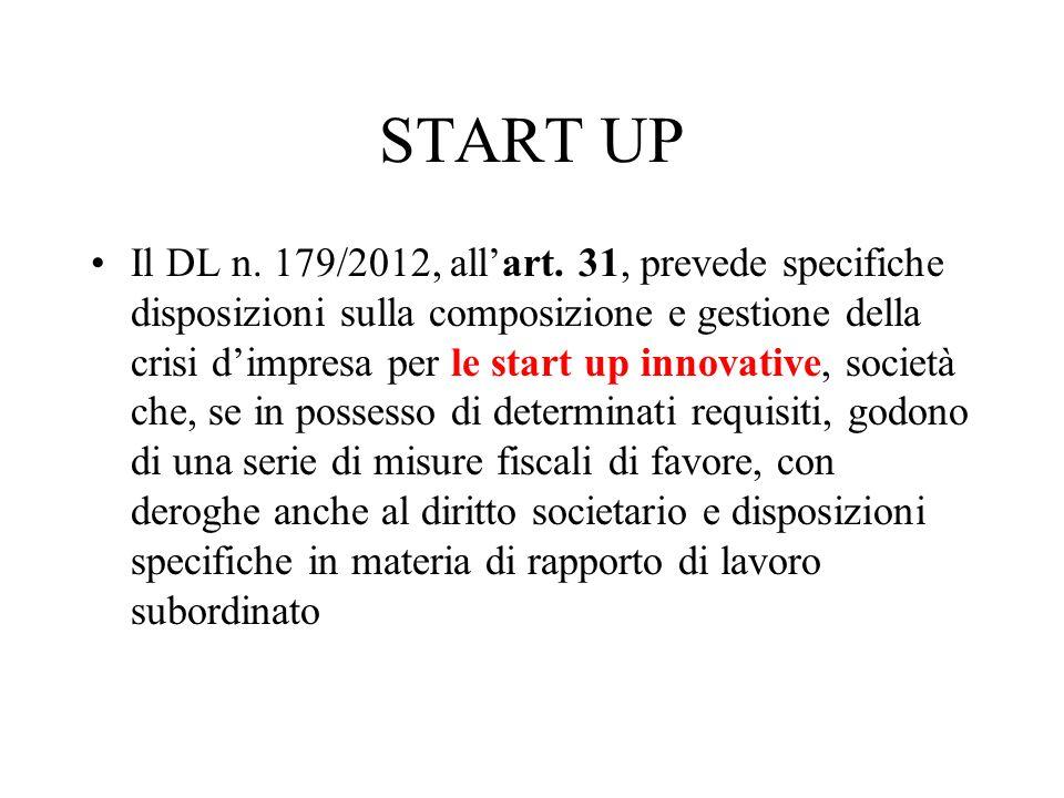 START UP Il DL n. 179/2012, allart. 31, prevede specifiche disposizioni sulla composizione e gestione della crisi dimpresa per le start up innovative,