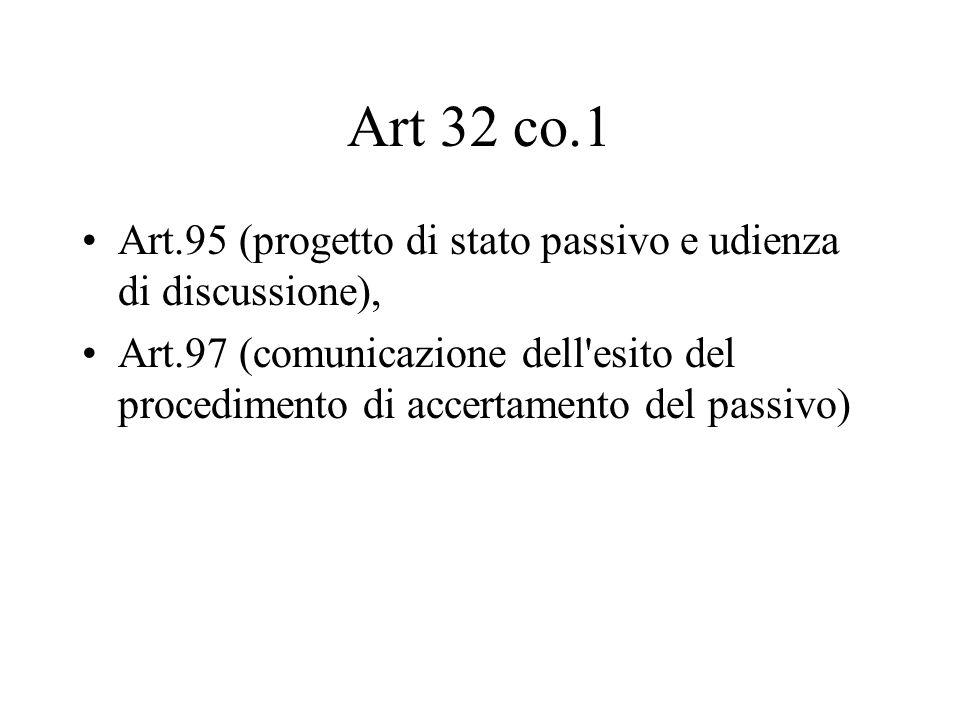 Art 32 co.1 Art.95 (progetto di stato passivo e udienza di discussione), Art.97 (comunicazione dell'esito del procedimento di accertamento del passivo