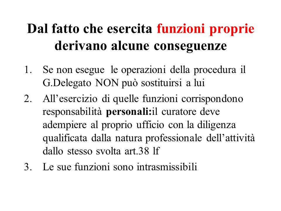 Dal fatto che esercita funzioni proprie derivano alcune conseguenze 1.Se non esegue le operazioni della procedura il G.Delegato NON può sostituirsi a