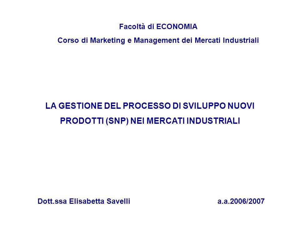 Facoltà di ECONOMIA Corso di Marketing e Management dei Mercati Industriali Dott.ssa Elisabetta Savellia.a.2006/2007 LA GESTIONE DEL PROCESSO DI SVILU