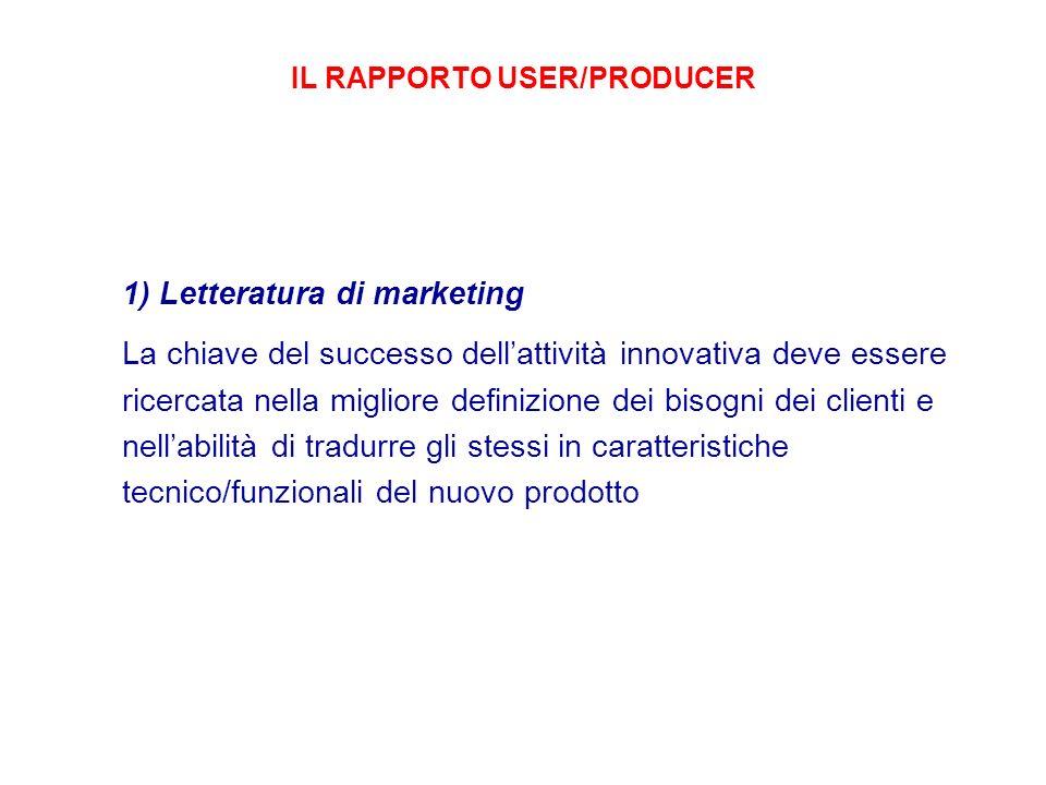 IL RAPPORTO USER/PRODUCER 1) Letteratura di marketing La chiave del successo dellattività innovativa deve essere ricercata nella migliore definizione