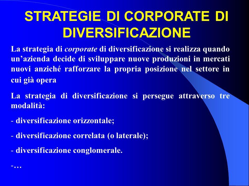 La strategia di corporate di diversificazione si realizza quando unazienda decide di sviluppare nuove produzioni in mercati nuovi anziché rafforzare l