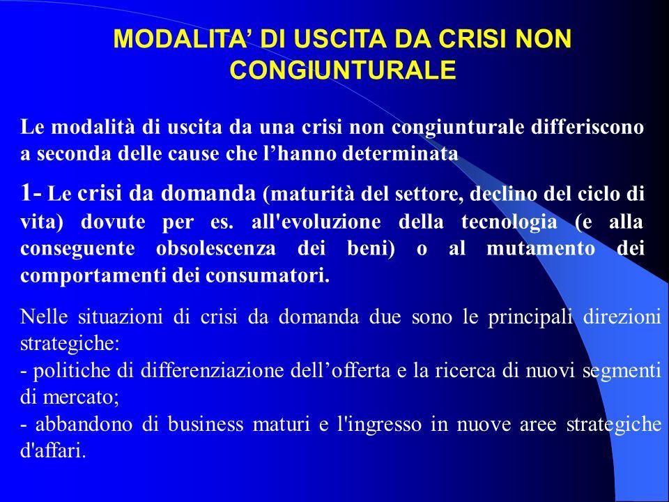 Le modalità di uscita da una crisi non congiunturale differiscono a seconda delle cause che lhanno determinata 1- Le crisi da domanda (maturità del se