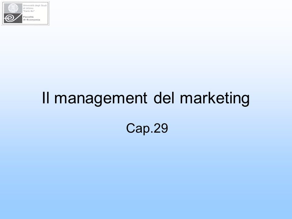Il management del marketing Cap.29