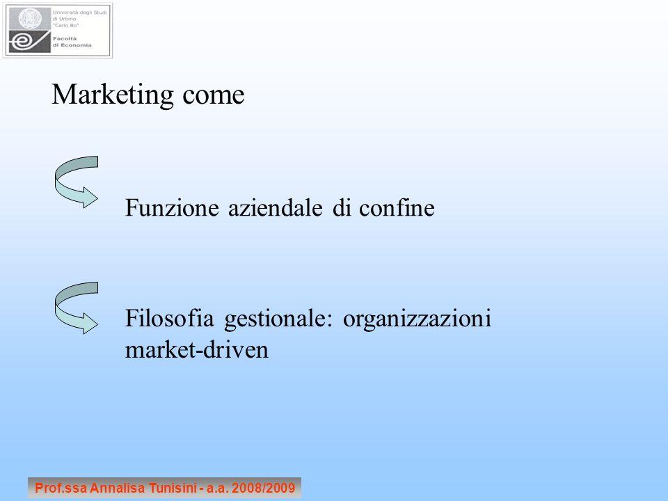 Prof.ssa Annalisa Tunisini - a.a. 2008/2009 Marketing come Funzione aziendale di confine Filosofia gestionale: organizzazioni market-driven