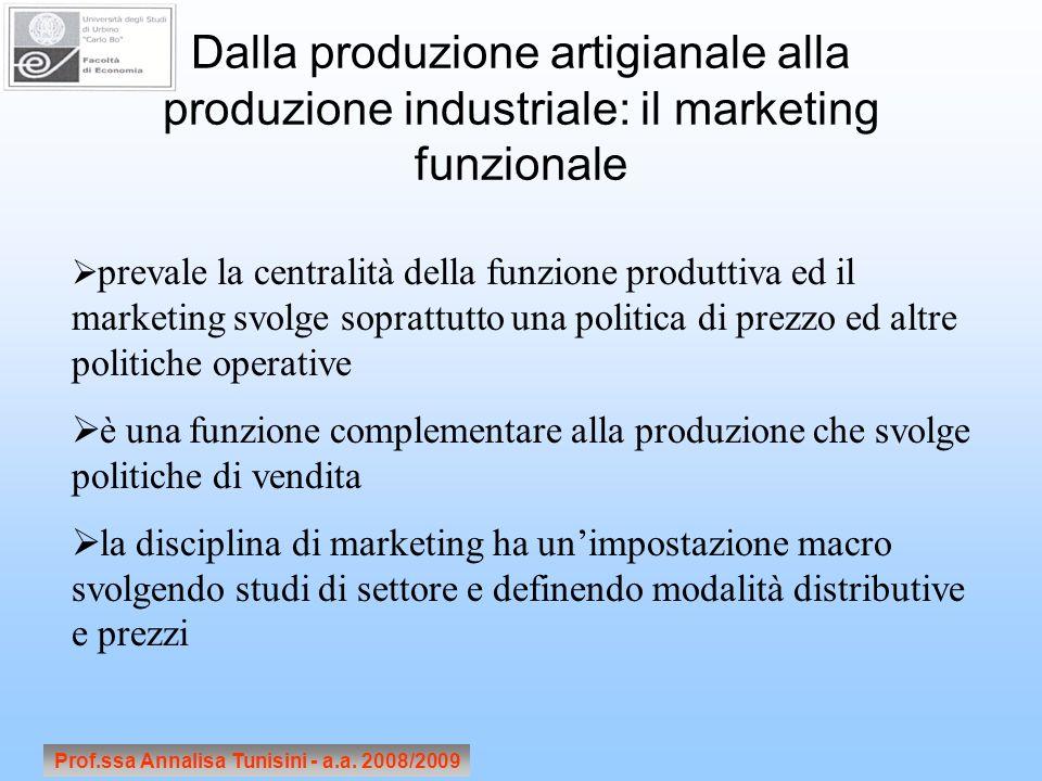 Prof.ssa Annalisa Tunisini - a.a. 2008/2009 Dalla produzione artigianale alla produzione industriale: il marketing funzionale prevale la centralità de