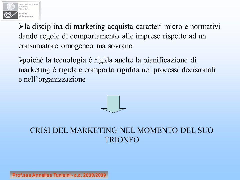 Prof.ssa Annalisa Tunisini - a.a. 2008/2009 la disciplina di marketing acquista caratteri micro e normativi dando regole di comportamento alle imprese