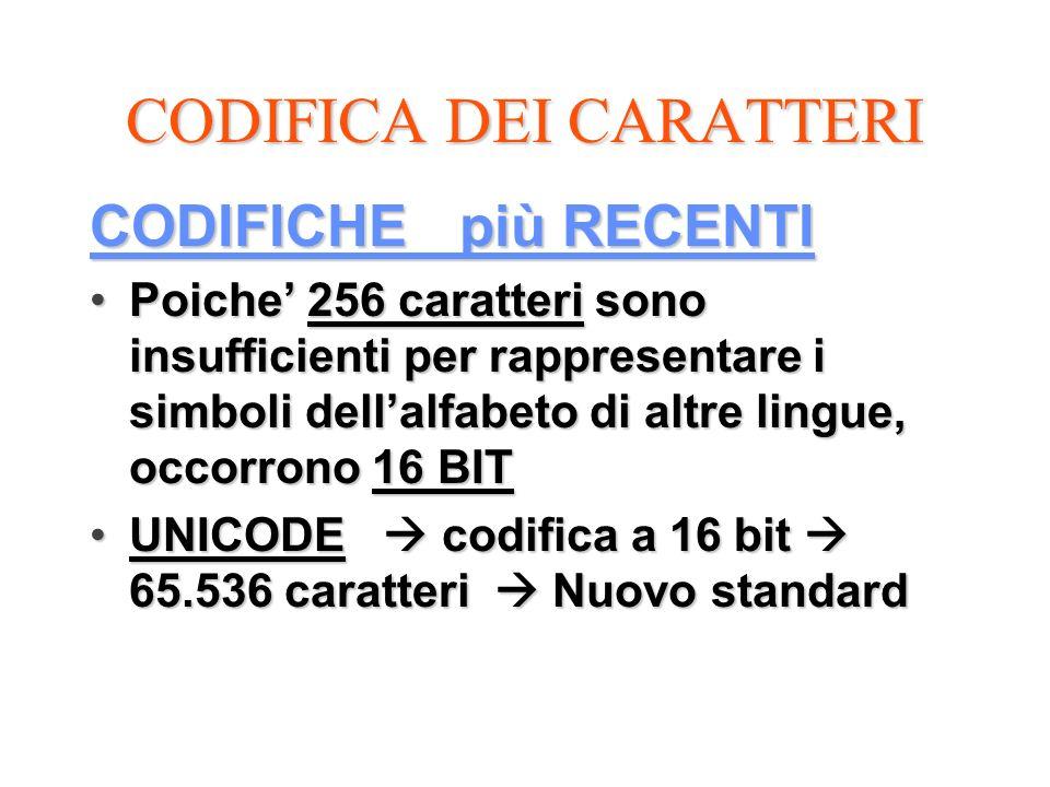 CODIFICA DEI CARATTERI CODIFICHE più RECENTI Poiche 256 caratteri sono insufficienti per rappresentare i simboli dellalfabeto di altre lingue, occorro