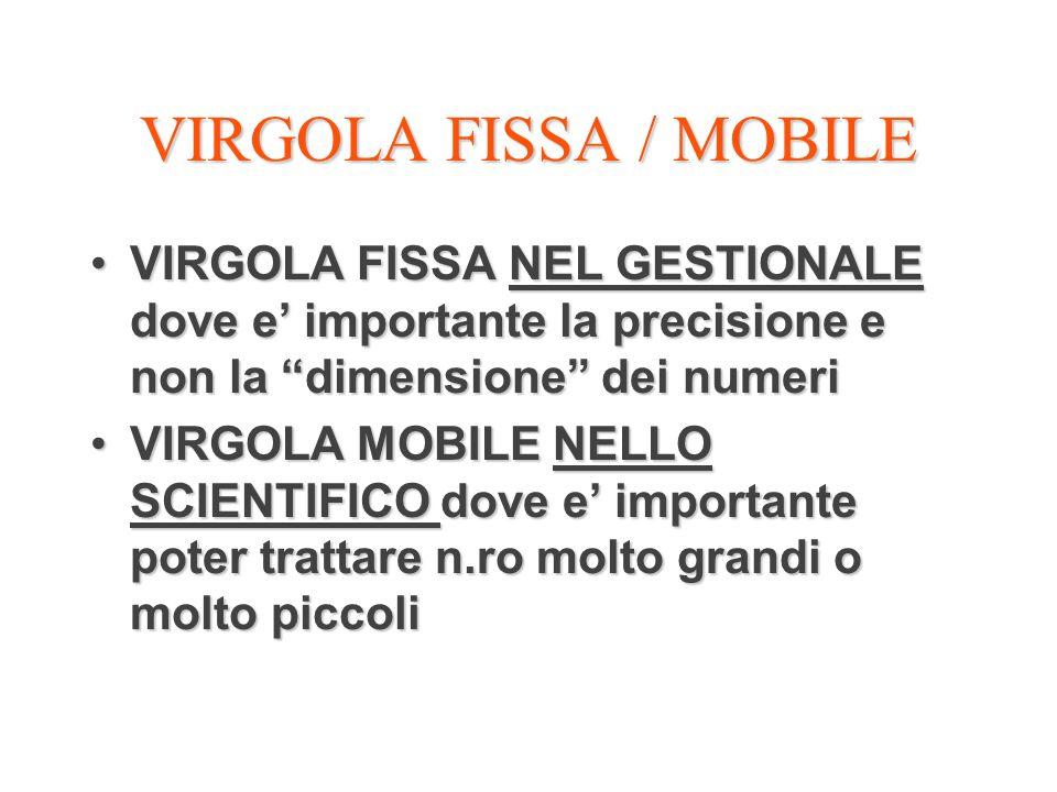 VIRGOLA FISSA / MOBILE VIRGOLA FISSA NEL GESTIONALE dove e importante la precisione e non la dimensione dei numeriVIRGOLA FISSA NEL GESTIONALE dove e