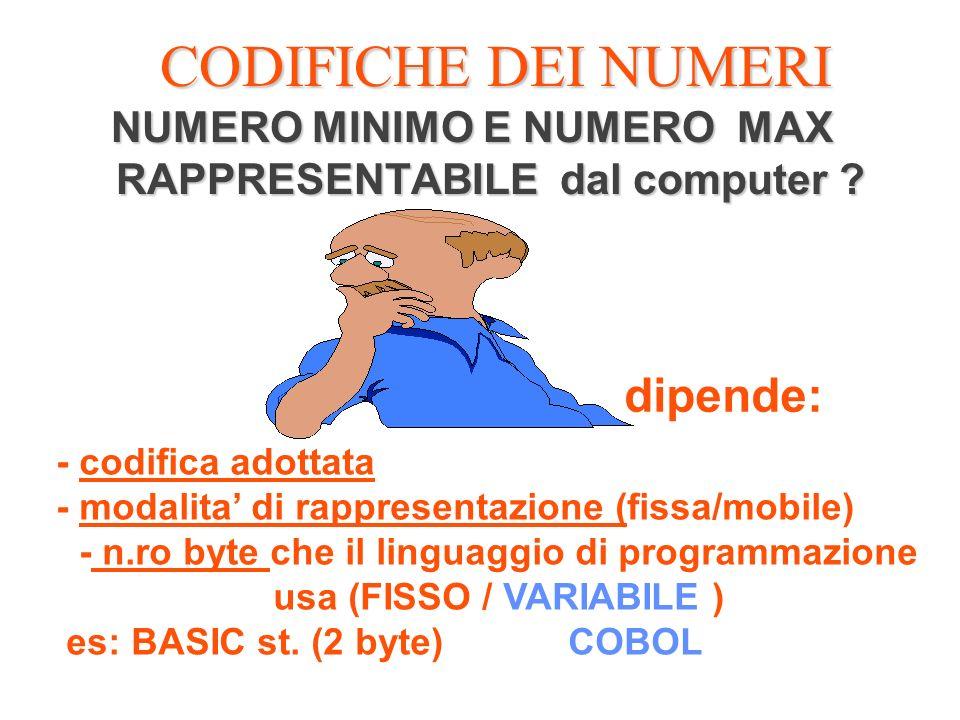 CODIFICHE DEI NUMERI NUMERO MINIMO E NUMERO MAX RAPPRESENTABILE dal computer ? dipende: - codifica adottata - modalita di rappresentazione (fissa/mobi