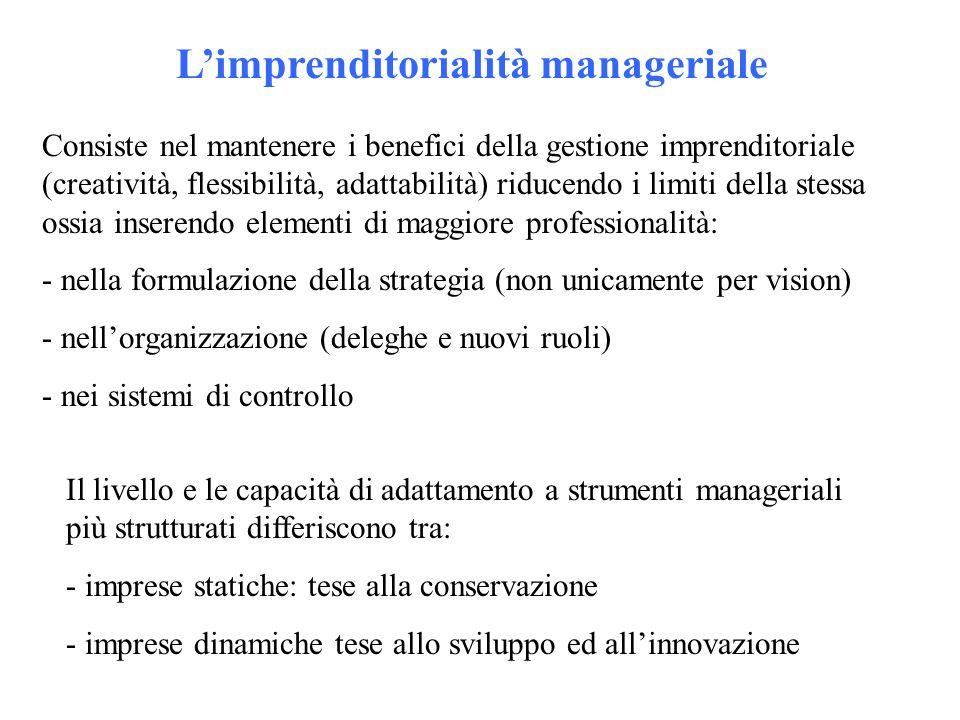 Limprenditorialità manageriale Consiste nel mantenere i benefici della gestione imprenditoriale (creatività, flessibilità, adattabilità) riducendo i limiti della stessa ossia inserendo elementi di maggiore professionalità: - nella formulazione della strategia (non unicamente per vision) - nellorganizzazione (deleghe e nuovi ruoli) - nei sistemi di controllo Il livello e le capacità di adattamento a strumenti manageriali più strutturati differiscono tra: - imprese statiche: tese alla conservazione - imprese dinamiche tese allo sviluppo ed allinnovazione