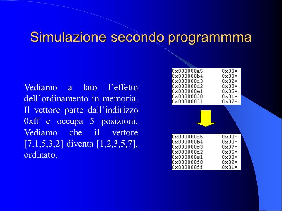 Simulazione secondo programmma Vediamo a lato leffetto dellordinamento in memoria.