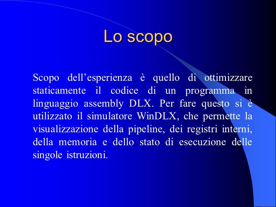 Lo scopo Scopo dellesperienza è quello di ottimizzare staticamente il codice di un programma in linguaggio assembly DLX.