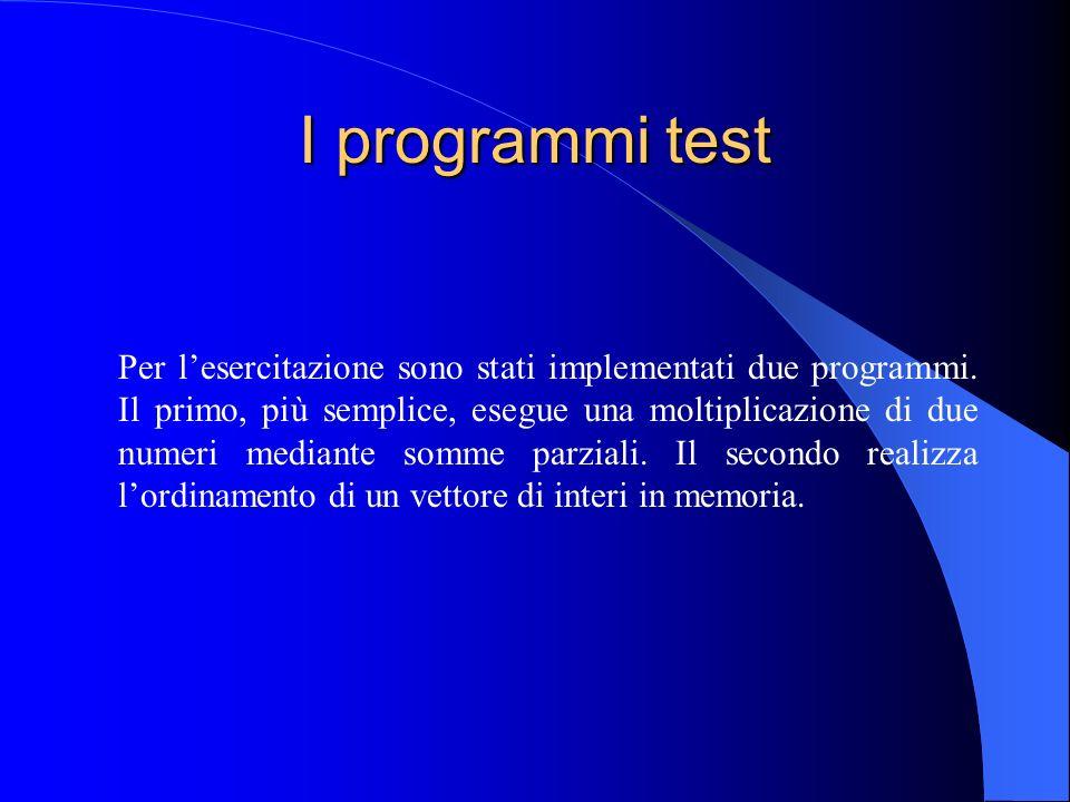 I programmi test Per lesercitazione sono stati implementati due programmi.
