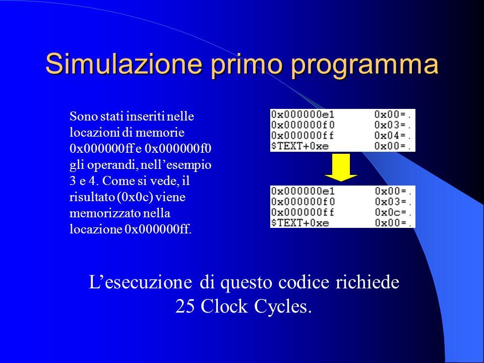 Simulazione primo programma Sono stati inseriti nelle locazioni di memorie 0x000000ff e 0x000000f0 gli operandi, nellesempio 3 e 4.