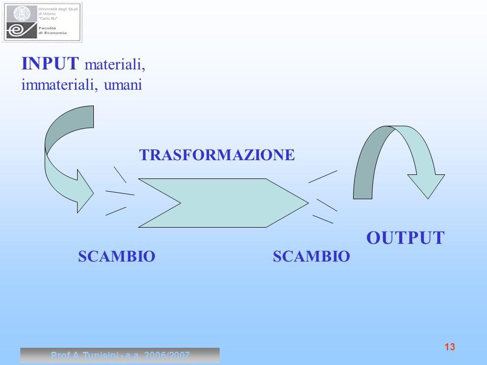 Prof.A.Tunisini - a.a. 2006/2007 13 INPUT materiali, immateriali, umani OUTPUT TRASFORMAZIONE SCAMBIO