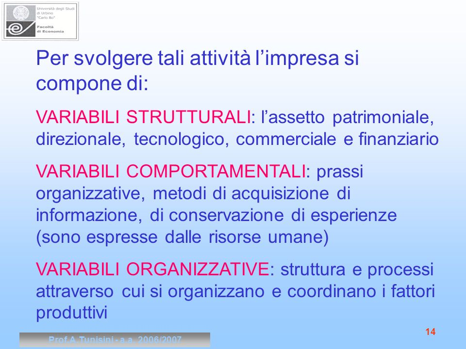 Prof.A.Tunisini - a.a. 2006/2007 14 Per svolgere tali attività limpresa si compone di: VARIABILI STRUTTURALI: lassetto patrimoniale, direzionale, tecn