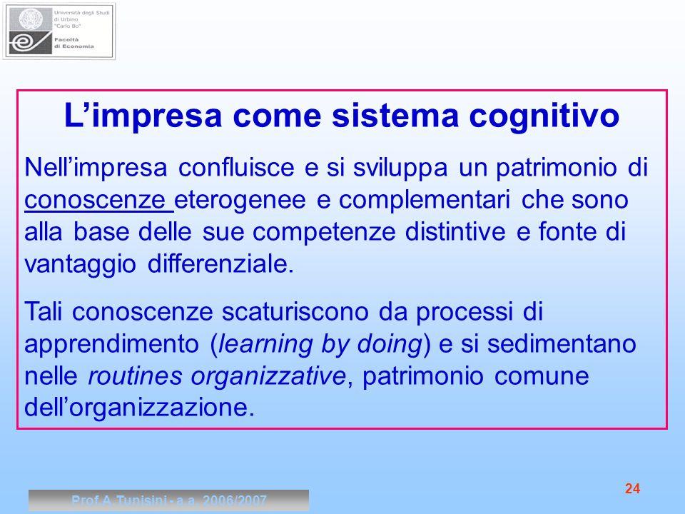 Prof.A.Tunisini - a.a. 2006/2007 24 Limpresa come sistema cognitivo Nellimpresa confluisce e si sviluppa un patrimonio di conoscenze eterogenee e comp