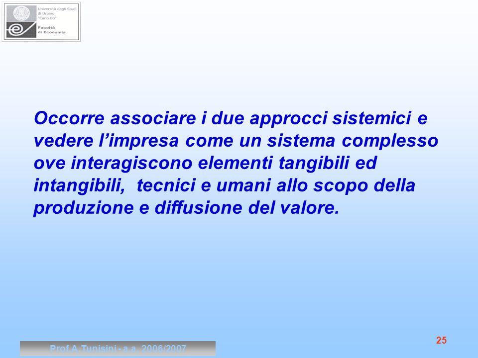 Prof.A.Tunisini - a.a. 2006/2007 25 Occorre associare i due approcci sistemici e vedere limpresa come un sistema complesso ove interagiscono elementi
